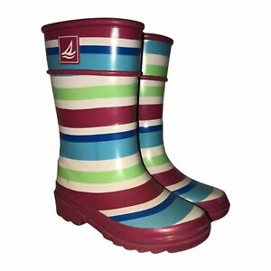 Sperry Topsider Pelican Pink Striped Rain Boots 10