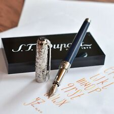 ST Dupont Line D Paris Streets Blue & Silver Engraved Fountain Pen