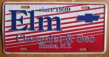 1990's ELM CHEVROLET & GEO DEALERSHIP ELMIRA NEW YORK BOOSTER License Plate