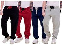 Mens Fleece Jogger Elasticated Pockets Ribbed Casual Pants Black Grey M to XXL