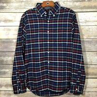American Eagle Men's Small Button Front Shirt Classic Fit Plaid Blue Red White