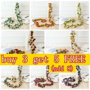 8Ft 45 flowers Artificial Silk Rose Flower Hanging Garland Garden Wedding Decors