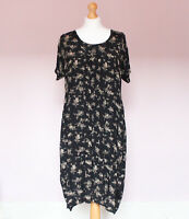 Masai black floral print loose fit lagenlook short sleeve tunic dress pockets M