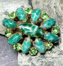 Czech Green Art Glass Crystal Vintage Brooch