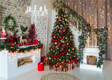 10x8ft Living Room Christmas Tree Stairs Garland Photo Background Vinyl Backdrop