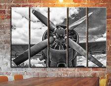 BIG SET 5 Panels Airplane Aircraft Wall Art Propeller Aviation Decor on Canvas