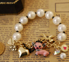 B7 Betsey Johnson  Pearl String w/ Piglet Pig Ribbon & Heart Charms Bracelet US