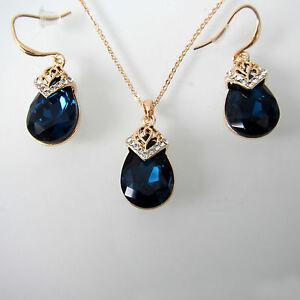 Water Drop Sapphire Blue Zircon Rhinestone Crystal Earrings Pendant Sets BS4016