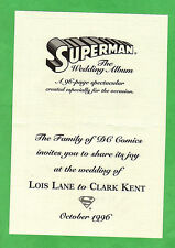 SUPERMAN THE WEDDING ALBUM comic Collectors edition & wedding Invitation NEW!