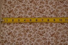 """29"""" x 34"""" Vintage 1940's-60's Brown Floral on White Cotton, Lighter-Weight, D351"""
