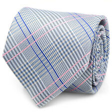 Ox and Bull Trading Co. Blue and Pink Glen Plaid Silk Tie