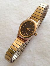 Ladies Gold Tone Black Dial Working Quartz Watch