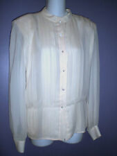 CELINE Paris Ivory Silk Pleated Blouse Top~42 (US 8/10?)~Made in Italy~Luxurious