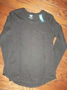 NWT OLD  NAVY COTTON BLEND SOLID BLACK LS T-SHIRT:  SIZE: S