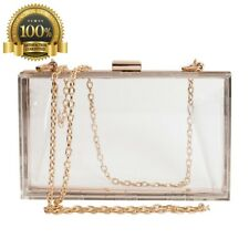 Luxury Handbag Women Cute Clear Box See Through Crossbody Purse Gold Transparent
