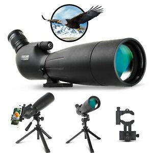 20-60X80 Waterproof Spotting Scope with Adjustable Tripod Phone Adapter and Bag
