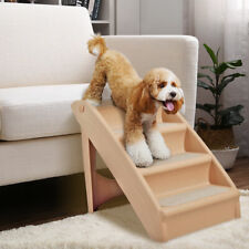 Foldable Pet Stairs 4 Non-slip Steps Dog Ladder w/ Support Frame for High Bed