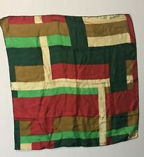 echo silk scarf 26� square green red gold Hand Rolled Hem