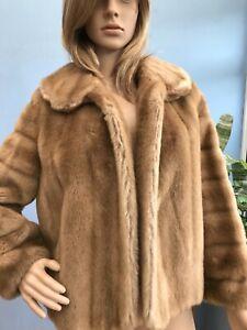 Vintage Tissavel France Brown Faux Mink Fur Jacket Coat Size M