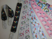 MITTEN CLIPS x 1pr unicorn ribbon girls boys kids glove holders savers gift idea