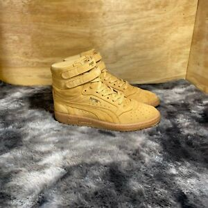Puma Mens Sky II 2 HI 364395 01 Leather Lace Up Gold Sneaker Shoes Size 8.5