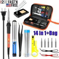 14IN1 Electric Soldering Iron Gun Tool Kit 110V 60W Control ℃ Welding Station US
