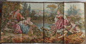 Antique Italian Tapestry Wall - Romantic Love Scene in a lake Victorian