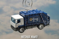 White Blue Garbage Trash Refuse Truck Custom Christmas Ornament Waste Management