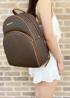 Michael Kors Abbey Large Backpack Brown MK Signature PVC Leather 2019