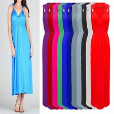Viscose V-Neck Regular Size Sleeveless Dresses for Women