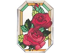 7x10 RED ROSE Floral Stained Art Glass Suncatcher
