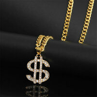 USD Money Sign Pendant Necklace Hip Hop Chain 18K Gold Plated Crystal Jewelry