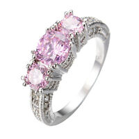 Size 5-12 Pink Sapphire Solitaire with Accents Engagement Ring White Gold Filled