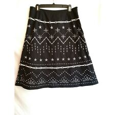AUTOGRAPH New York Size 10 A-Line Skirt Black White Embroidery NWT