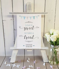 Personalised Sweet table wedding sign love is sweet take a treat A4