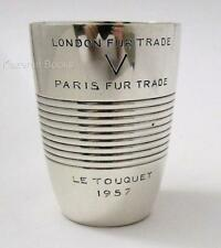 Vintage French Solid Silver Christofle Fur Trade Fashion Le Touquet Beaker Cup