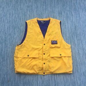 Vintage 90s Polo Ralph Lauren Hi Tech Vest Yellow Size XL