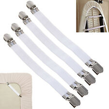 4X Bed Sheet Straps Grippers Fasteners with Metal Clasp - Elastic Suspenders BU4