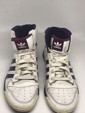 Adidas Attitude Sleek White and Purple Trainers Hi Tops Sneakers Size 6 G51484