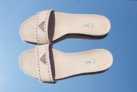 Ladies PRADA Cream Flat Sandals Sliders Size 37 UK 4 Genuine Shoes VGC With Logo