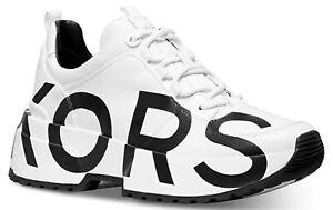 Nib Michael KORS COSMO White GRAPHIC BLACK LOGO Platform Sneakers size 9.5