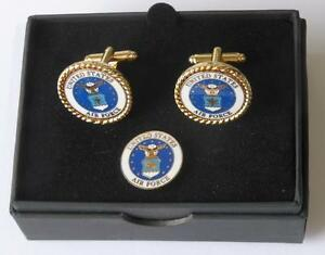 New USAF United States Air Force Cuff links Lapel Pin Boxed MADE IN USA. TUXXMAN