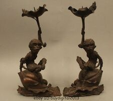 "13"" China Palace Pure Bronze Monkey peach Statue candlestick Candle holder Pair"