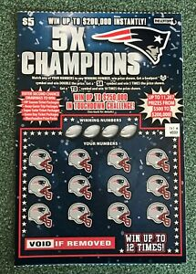 New England Patriots  NFL Football  SV Instant Lottery Ticket, 5 time Super Bowl
