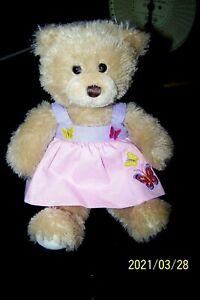 """Harrods London Knightsbridge  11""""  Plush Teddy Bear wearing a pink dress"""