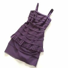 Vera Wang White Tiered Crinkle Chiffon Dress Ruffle with Satin Straps amethyst