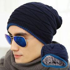 Men Crochet Knit Plicate Baggy Beanie Wool Hat Skull Winter Warm navy blue Cap