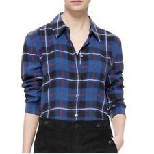 👚 Equipment Femme Plaid Shirt 100% Silk Button Down Long Sleeve, Blue, S 🆓📦