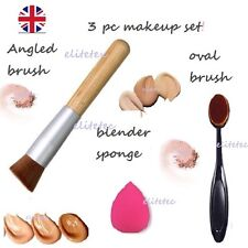 make up brush set 3pcs flat oval sponge angled kabuki foundation blender brushes
