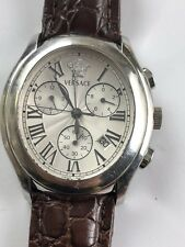 AUTHENTIC VERSACE OLC99 BOND STREET CHRONO OVAL STAINLESS STEEL WATCH